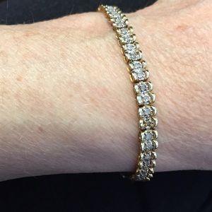 14k 2-toned diamond tennis bracelet